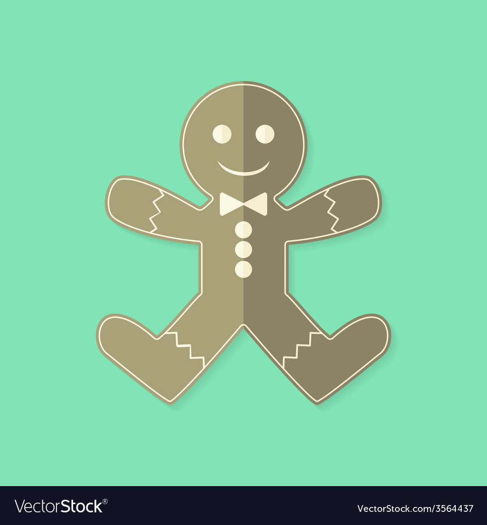 Gingerbread man christmas flat icon vector   Price: 1 Credit (USD $1)