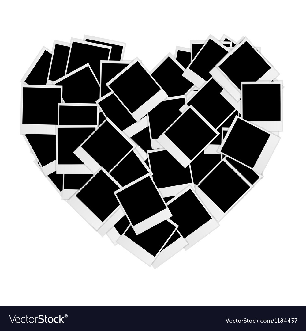 Instant photos in heart shape vector | Price: 1 Credit (USD $1)
