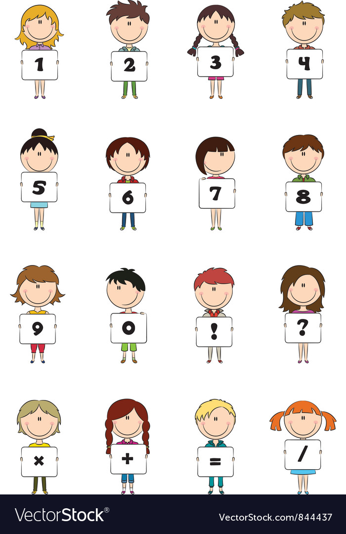 Kid numbers and symbols vector | Price: 3 Credit (USD $3)