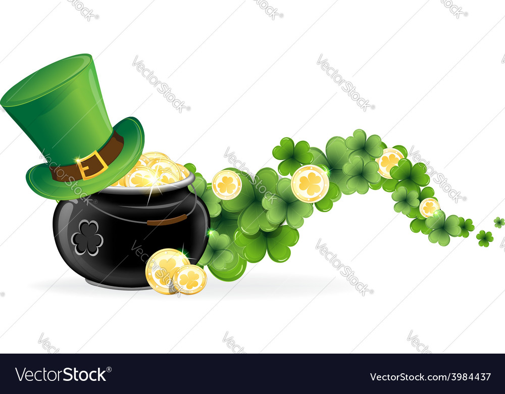 Leprechaun hat and pot of gold vector | Price: 1 Credit (USD $1)
