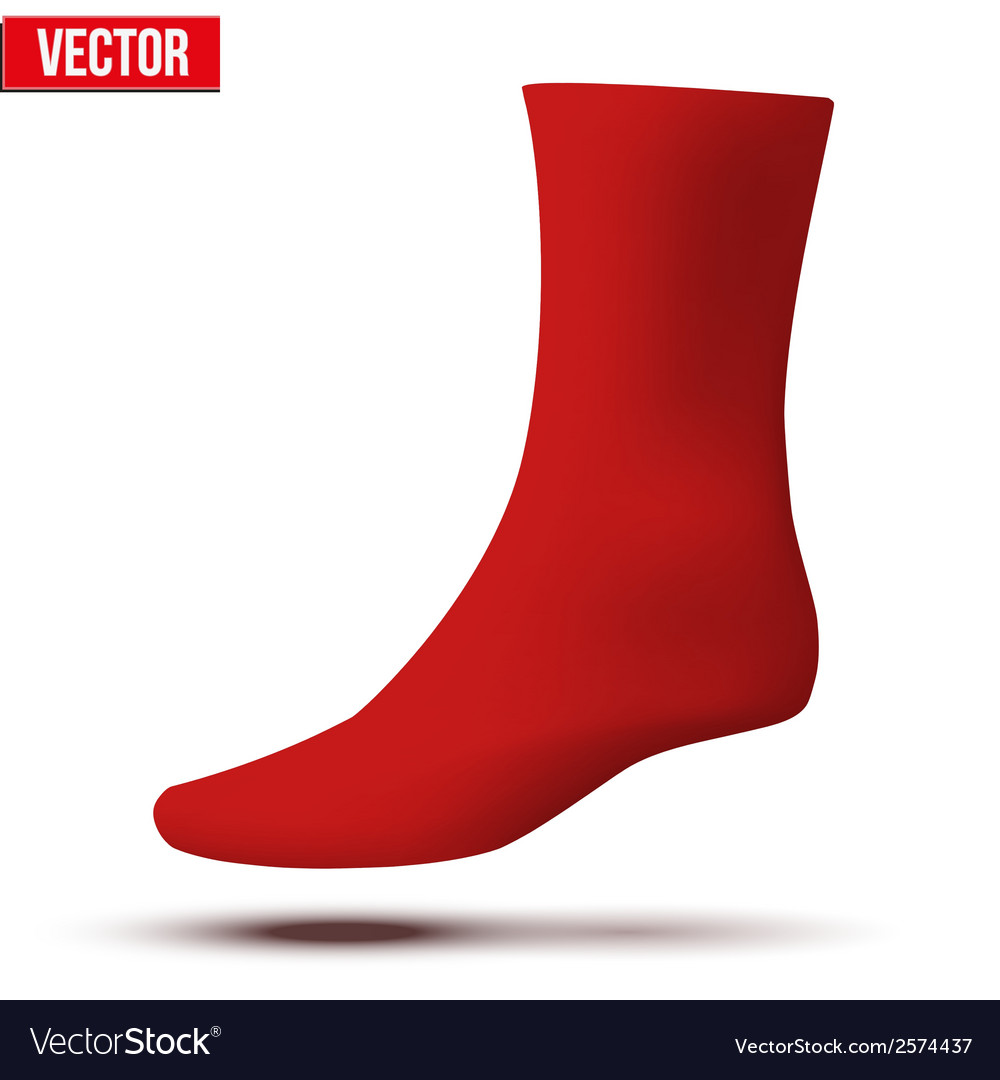 Realistic layout of red sock a simple example vector | Price: 1 Credit (USD $1)