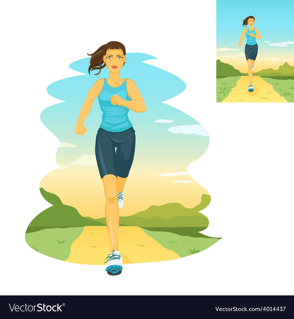 Running woman morning jogging vector | Price: 1 Credit (USD $1)