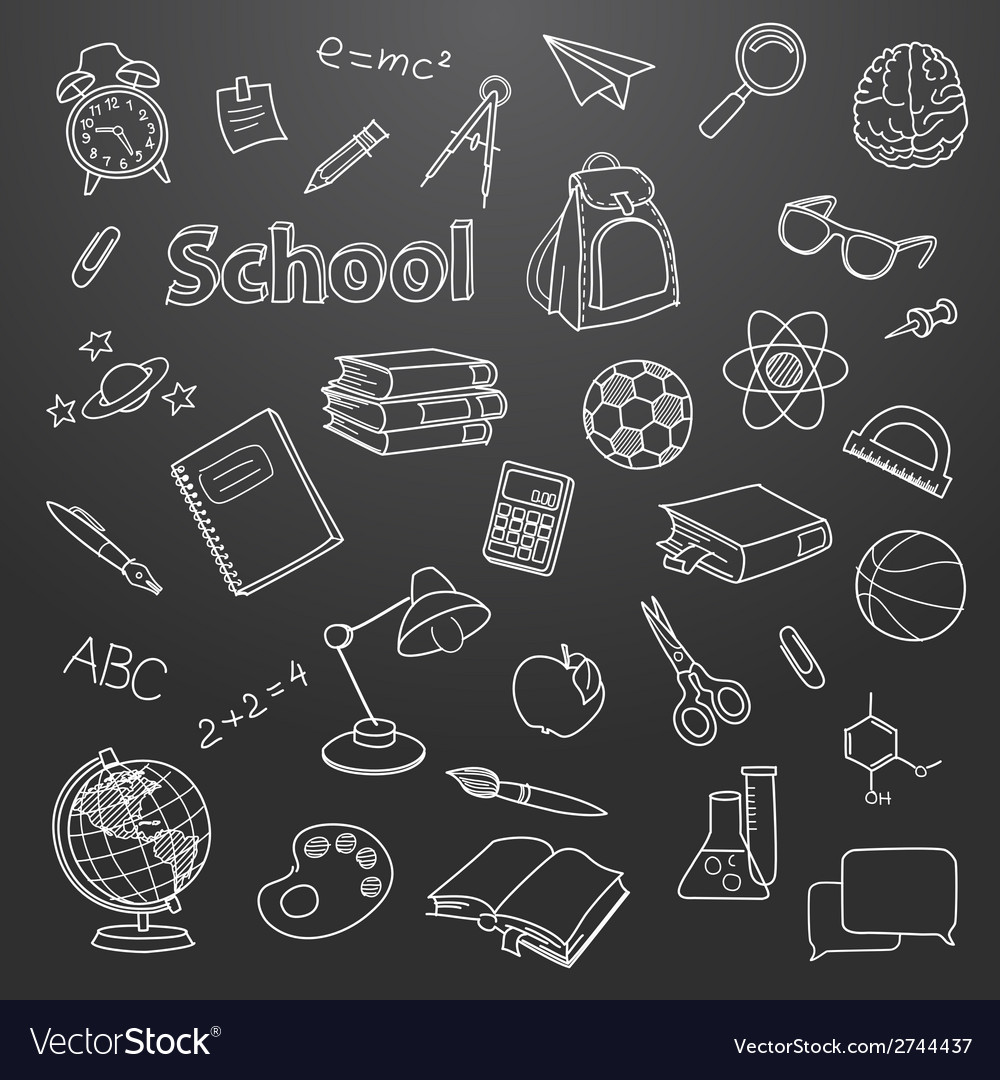 School doodle on a blackboard background vector | Price: 1 Credit (USD $1)