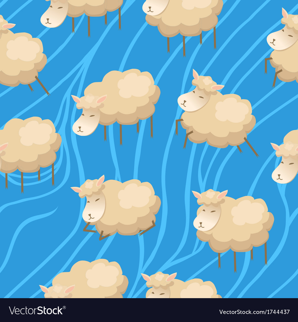 Seamless lambs clouds wallpaper vector | Price: 1 Credit (USD $1)