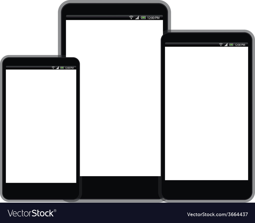 Smart phone with white screen sizes vector | Price: 1 Credit (USD $1)