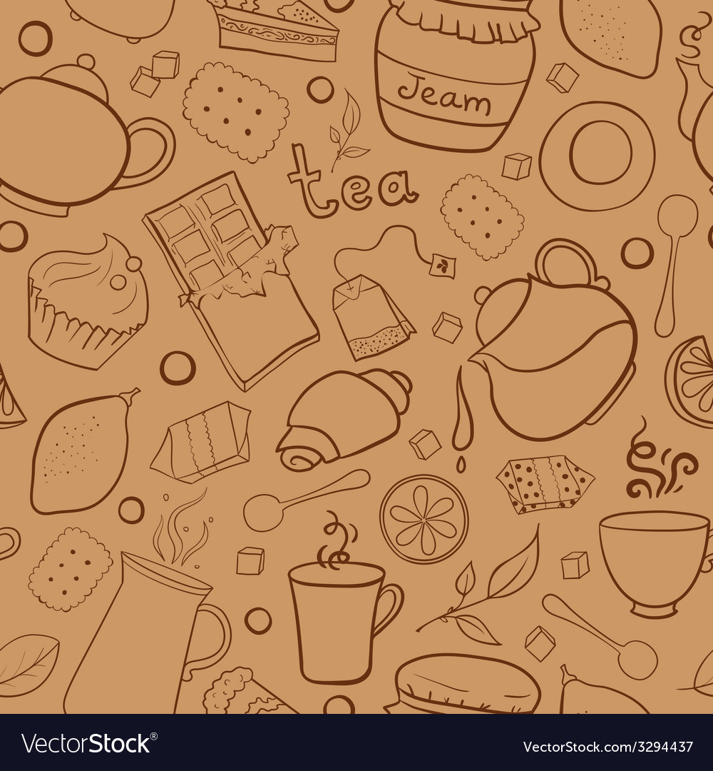 Tea and sweets seamless pattern vector | Price: 1 Credit (USD $1)