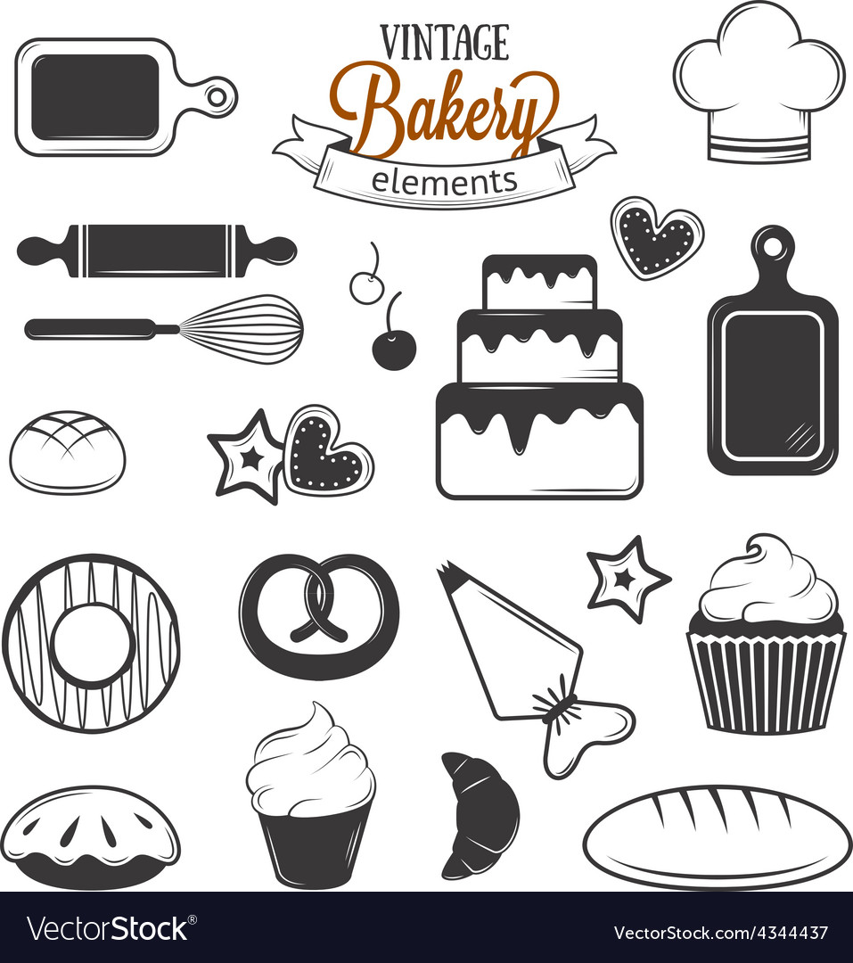 Vintage bakery elements vector | Price: 1 Credit (USD $1)