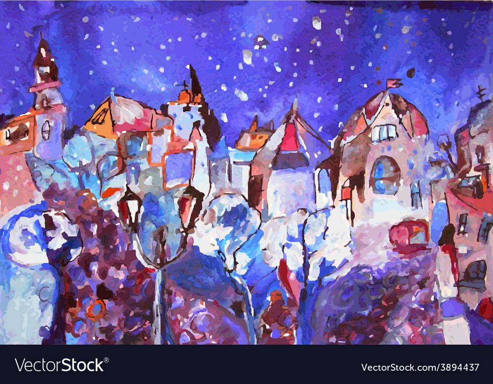 Winter city painting - christmas time card vector | Price: 1 Credit (USD $1)