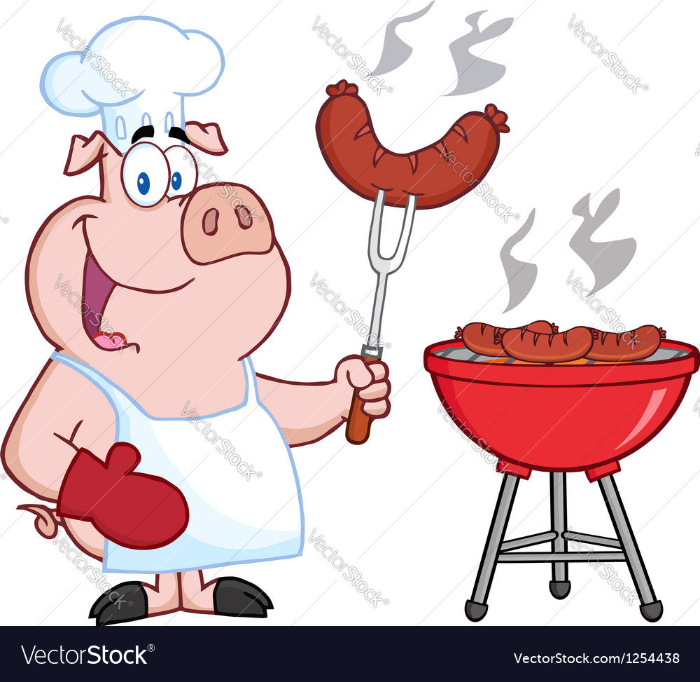 Happy pig chef cook at barbecue vector | Price: 1 Credit (USD $1)