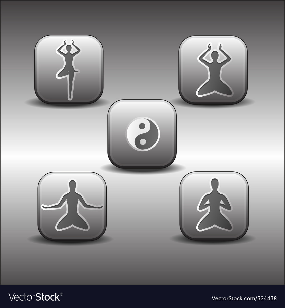 Icons of meditation poses vector | Price: 1 Credit (USD $1)