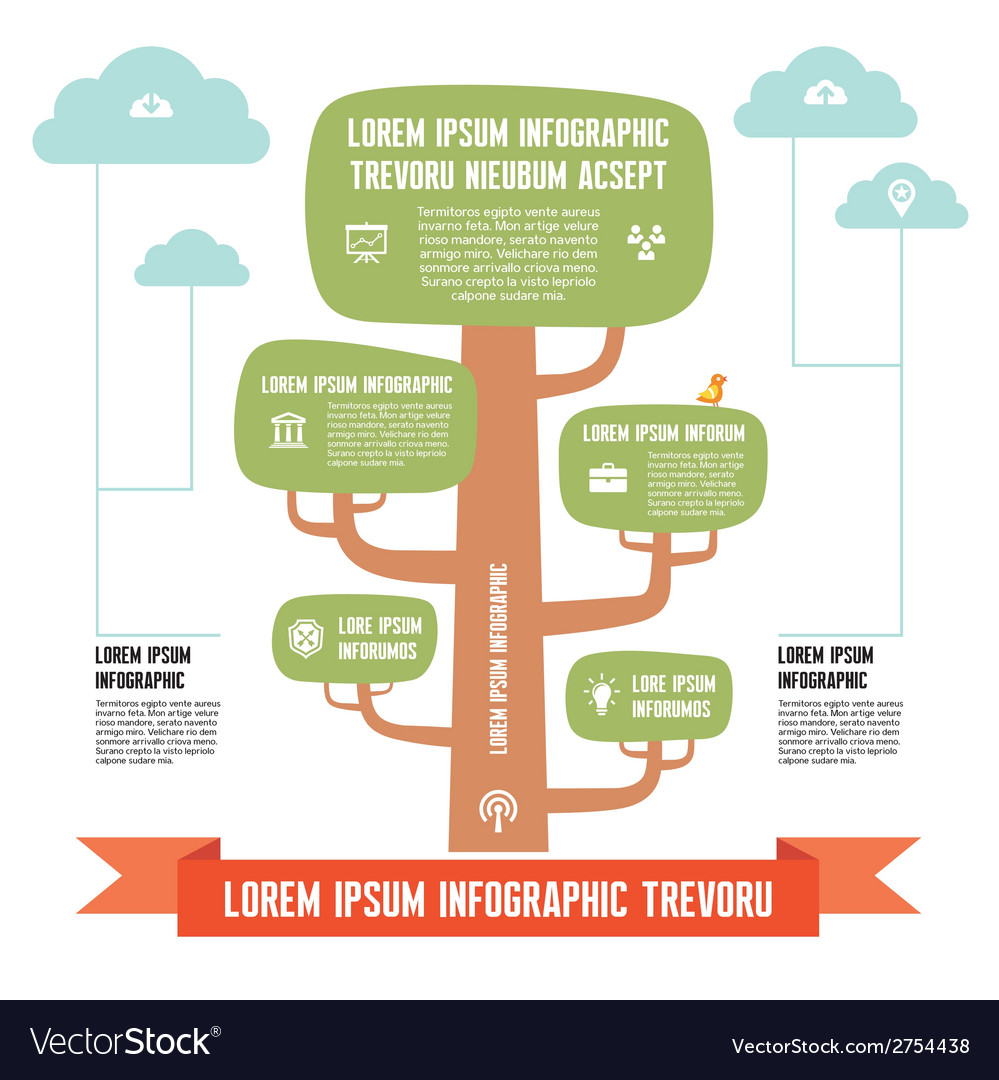 Infographic business concept - tree with clouds vector | Price: 1 Credit (USD $1)