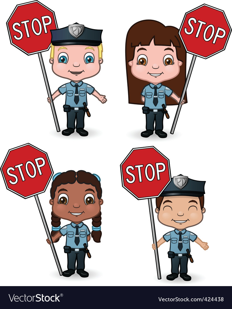 Kid cops with stop signs vector | Price: 1 Credit (USD $1)