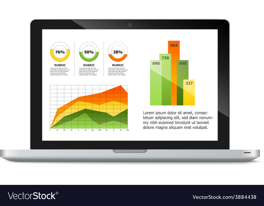 Laptop with statistics chart vector | Price: 1 Credit (USD $1)