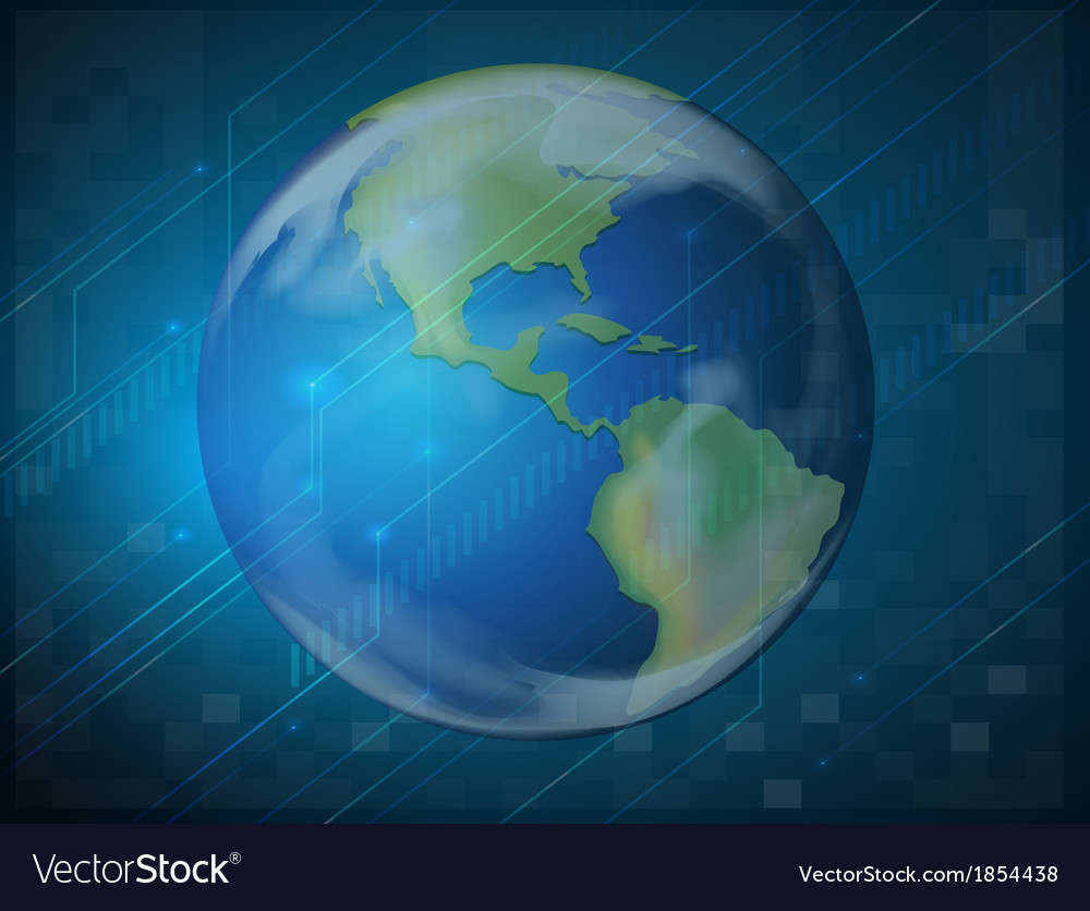 Planet earth on blue background vector | Price: 1 Credit (USD $1)