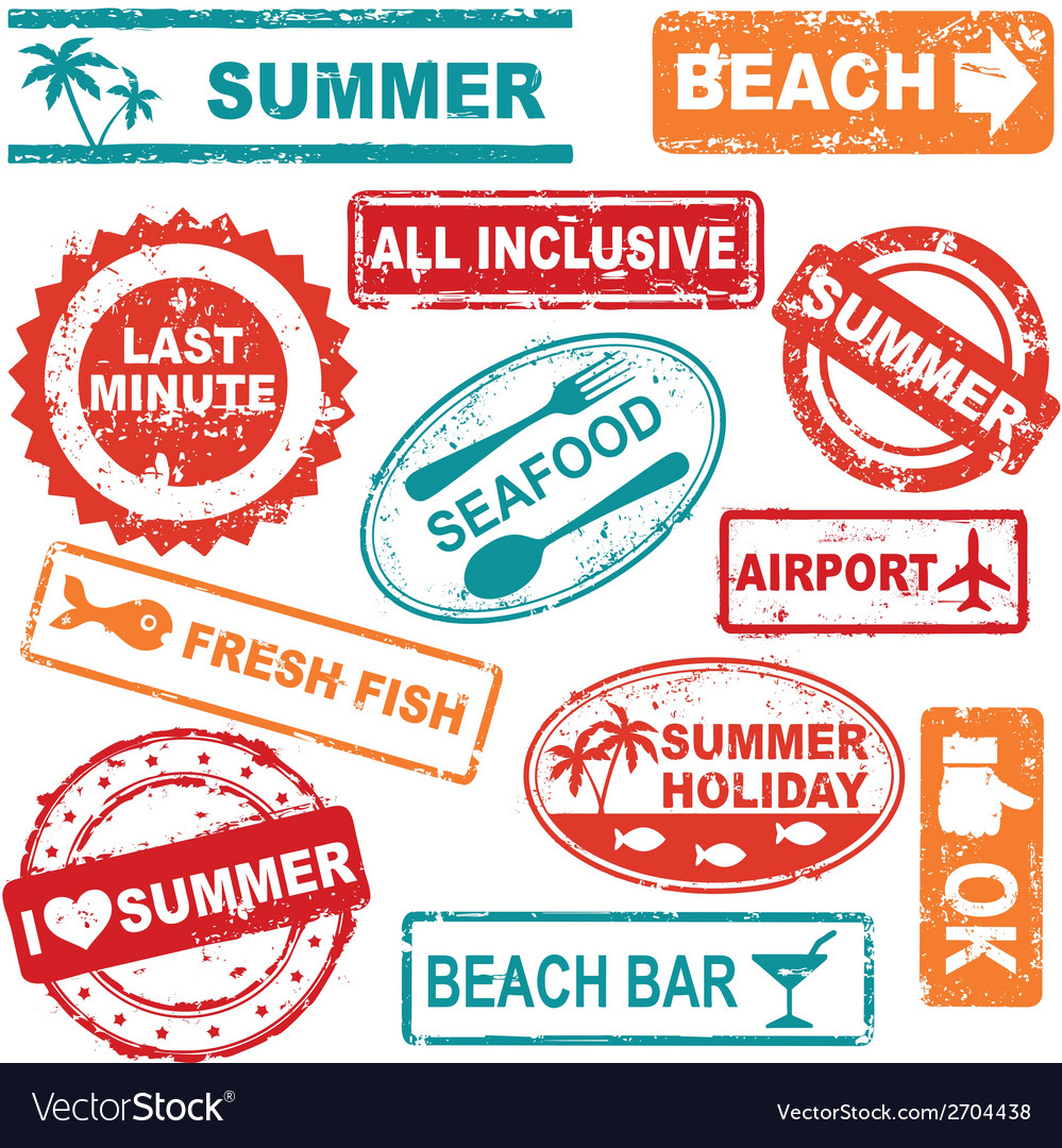 Summer rubber stamp collection vector