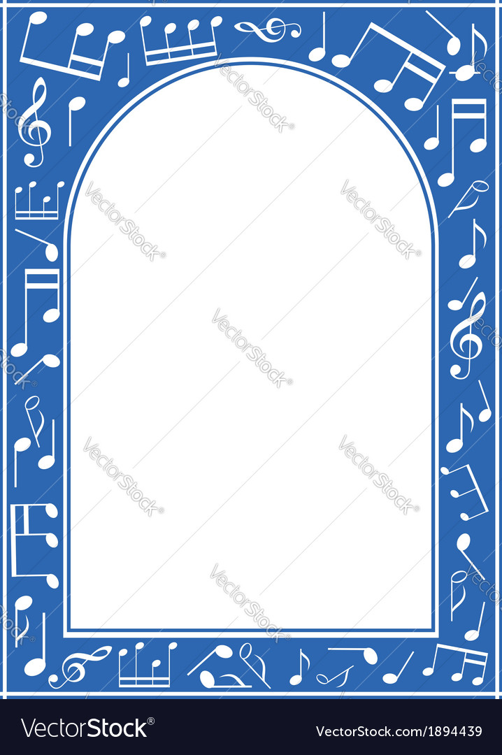 Blue music arch frame with white center vector | Price: 1 Credit (USD $1)