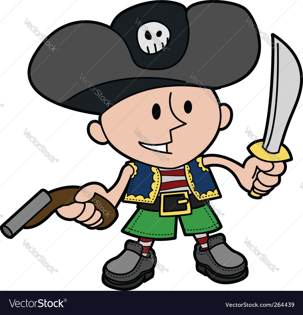 Boy in pirate costume vector | Price: 1 Credit (USD $1)