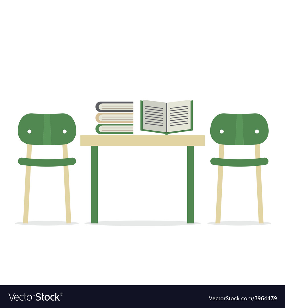 Chairs with books on table vector | Price: 1 Credit (USD $1)