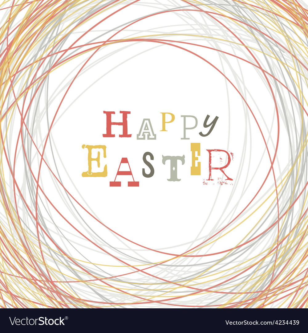 Easter greeting card nest symbolic vector | Price: 1 Credit (USD $1)