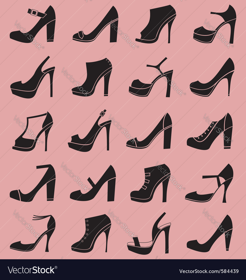 Fashion shoes icons vector | Price: 1 Credit (USD $1)