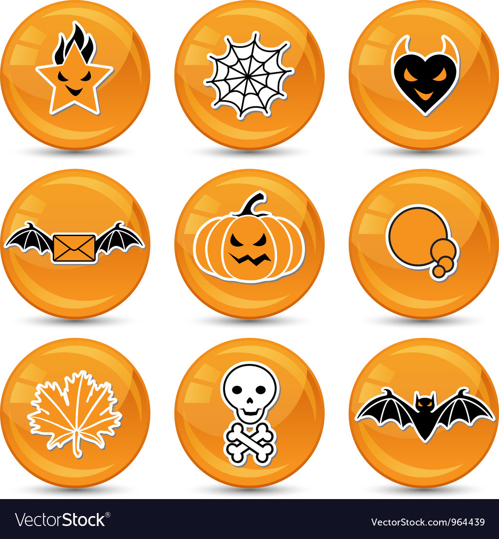 Glossy halloween icons vector | Price: 1 Credit (USD $1)