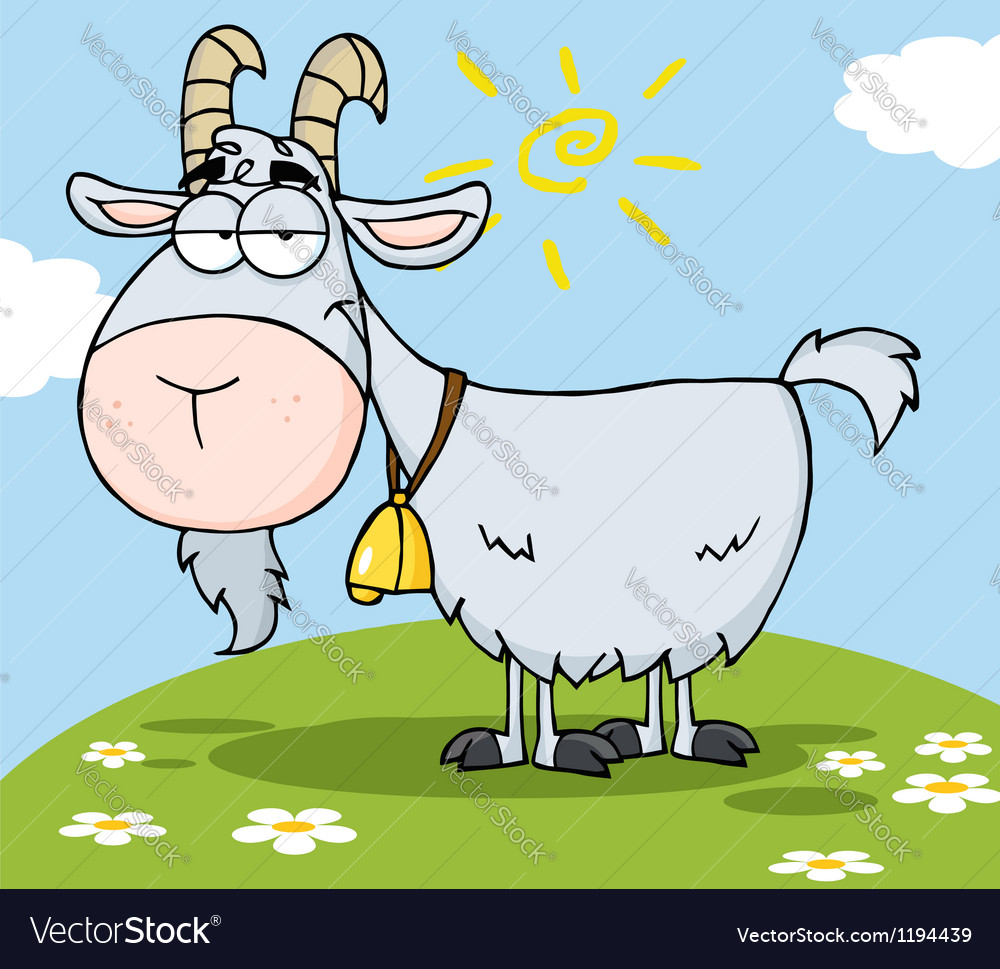 Goat cartoon character on a hill vector | Price: 1 Credit (USD $1)