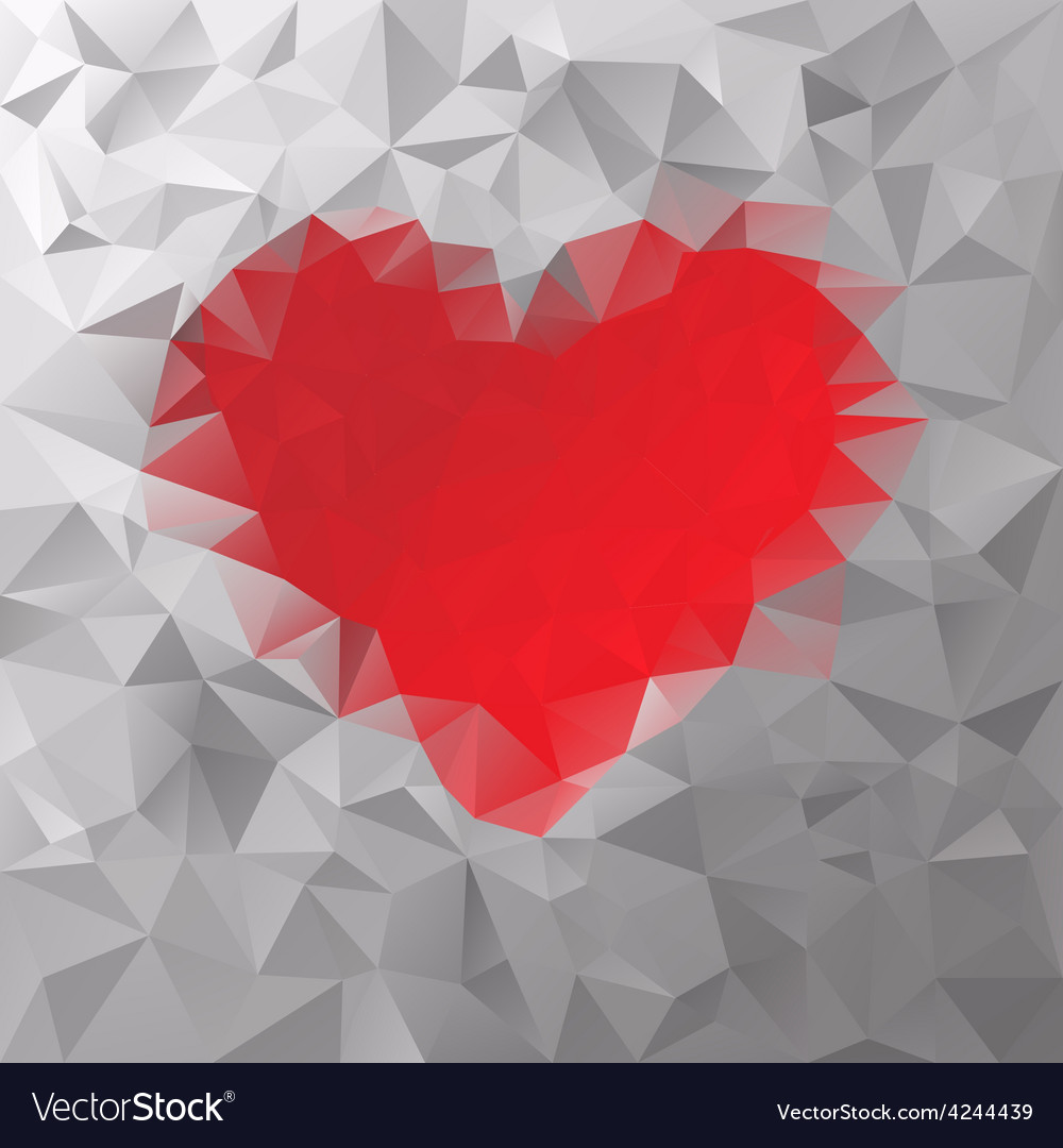 Red heart polygonal triangular pattern background vector | Price: 1 Credit (USD $1)