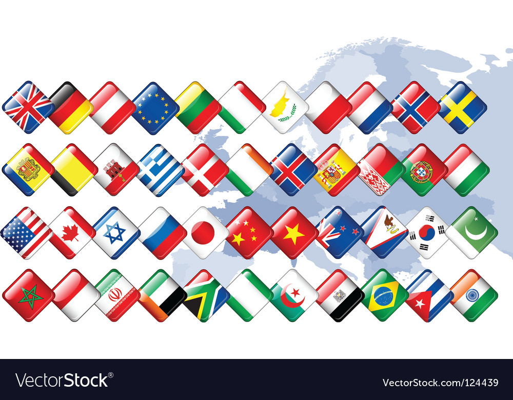 Set of flags glossy buttons vector | Price: 1 Credit (USD $1)