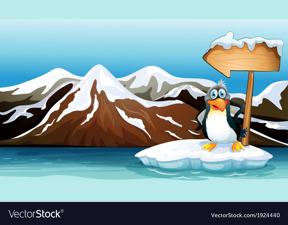 A penguin above the iceberg with an arrowboard vector | Price: 3 Credit (USD $3)