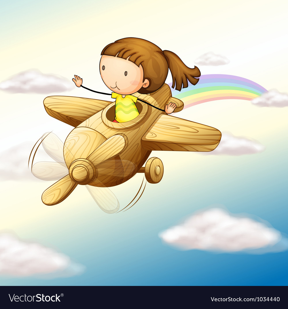 Airplane and girl vector | Price: 1 Credit (USD $1)