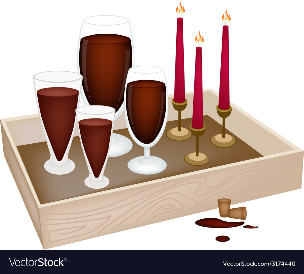 Candles with red wine in wooden container vector | Price: 1 Credit (USD $1)