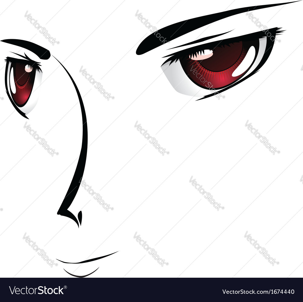 Cartoon face with red eyes vector | Price: 1 Credit (USD $1)