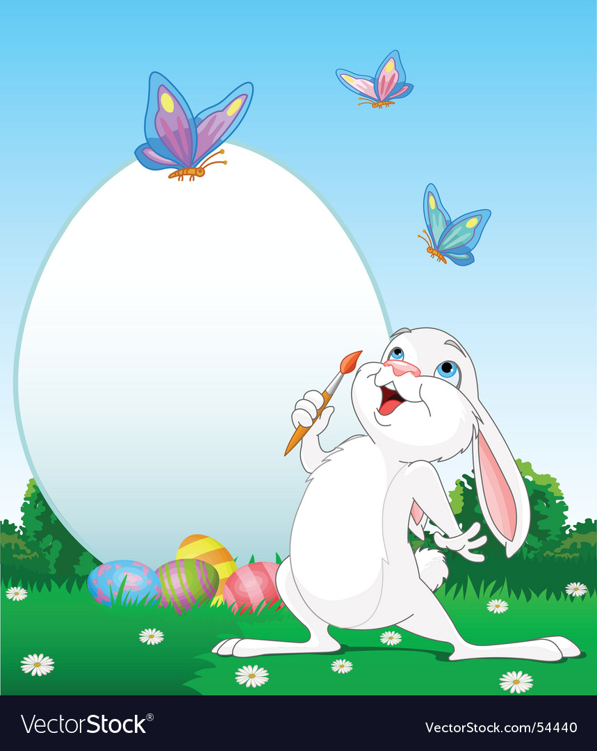 Easter bunny painting easter eggs vector | Price: 3 Credit (USD $3)
