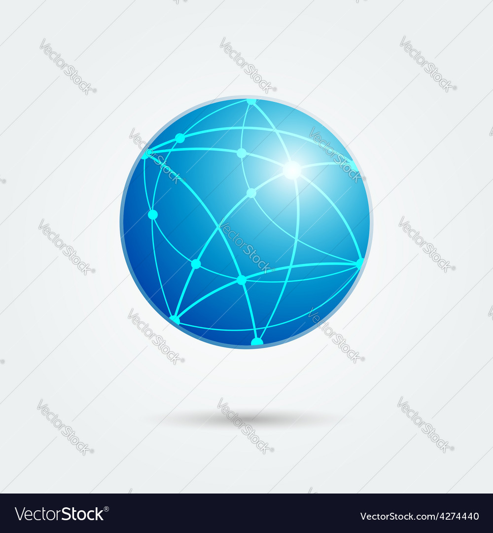 Global network emblem vector | Price: 1 Credit (USD $1)