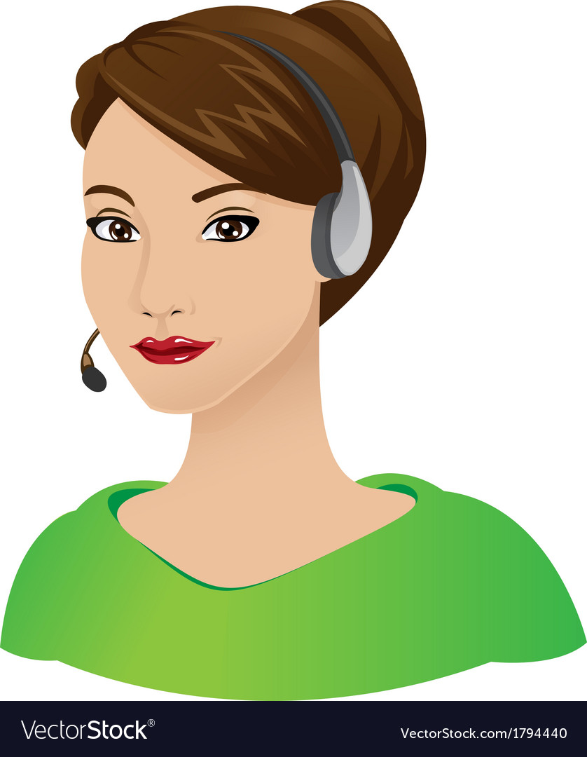 Receptionist woman with headset vector | Price: 1 Credit (USD $1)