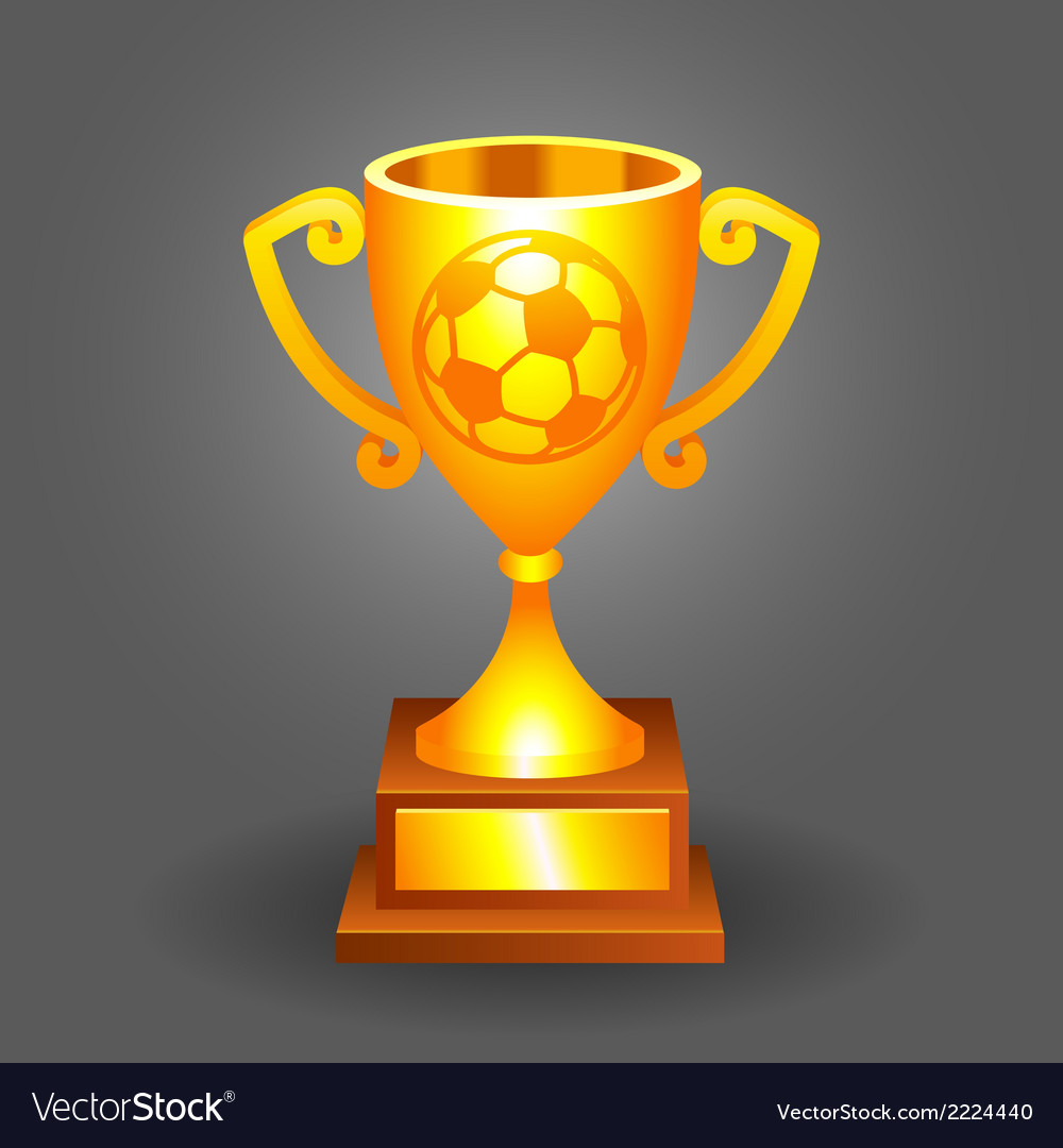 Soccer ball trophy gold cup bacground vector | Price: 1 Credit (USD $1)