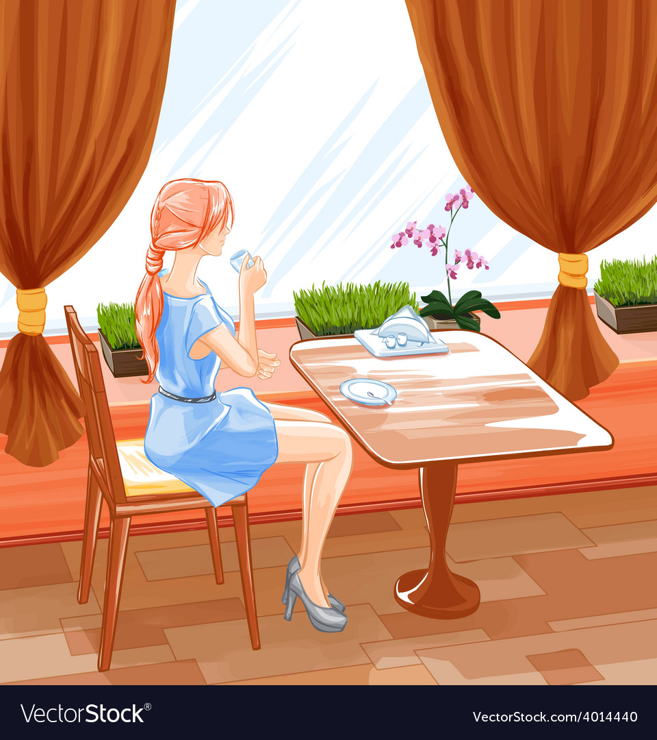 Woman sits in cafe and drink coffee vector | Price: 3 Credit (USD $3)