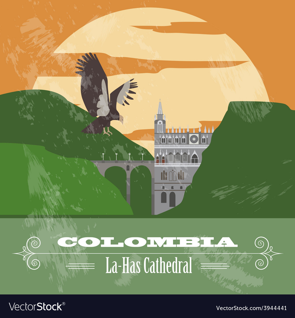 Colombia landmarks retro styled image vector | Price: 1 Credit (USD $1)