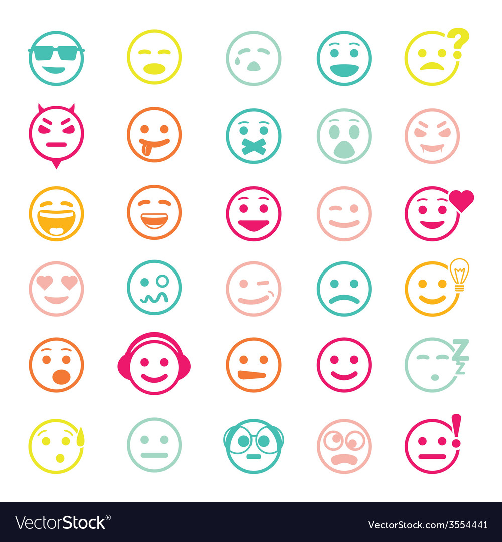 Color set of icons with smiley faces vector | Price: 1 Credit (USD $1)