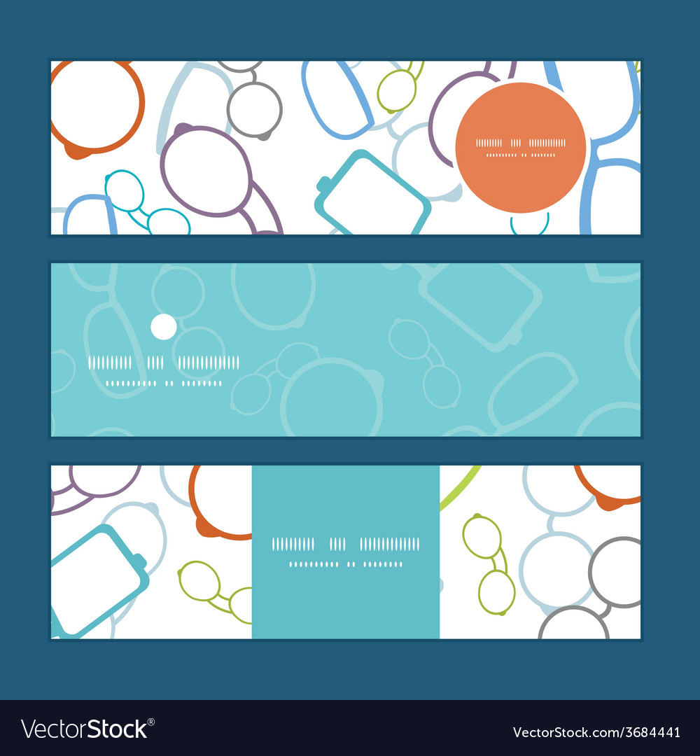 Colorful glasses horizontal banners set pattern vector   Price: 1 Credit (USD $1)