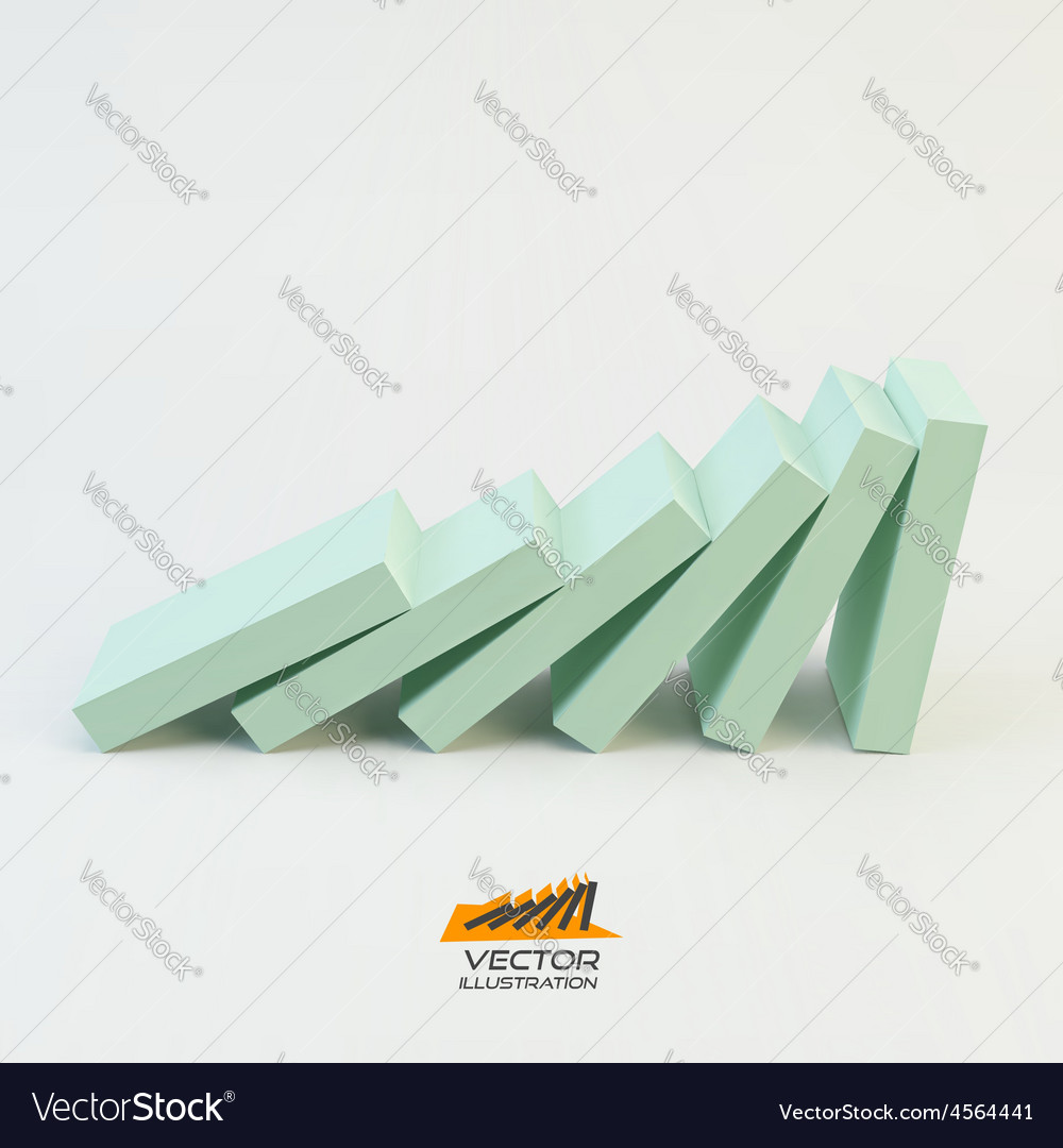 Domino effect concept business 3d concept vector   Price: 1 Credit (USD $1)