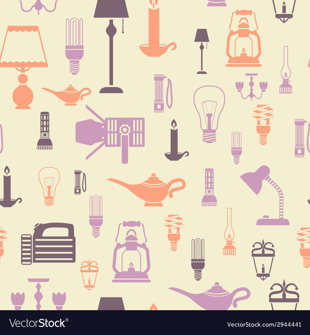 Flashlight and lamps seamless pattern vector | Price: 1 Credit (USD $1)