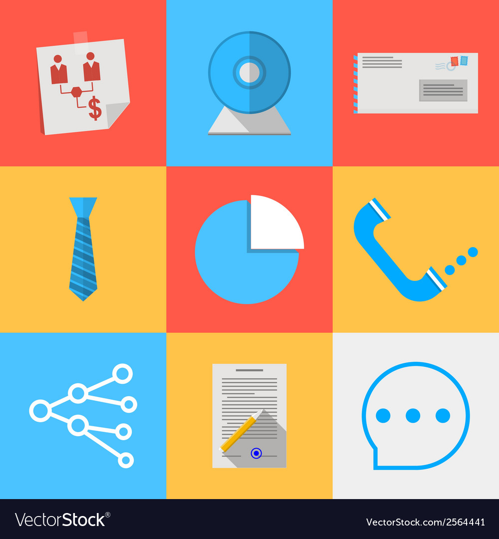 Flat icons for outsource communication vector | Price: 1 Credit (USD $1)