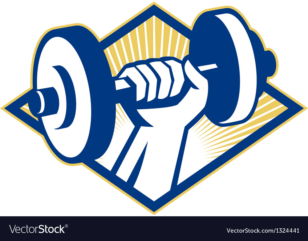 Hand lifting dumbbell retro vector | Price: 1 Credit (USD $1)