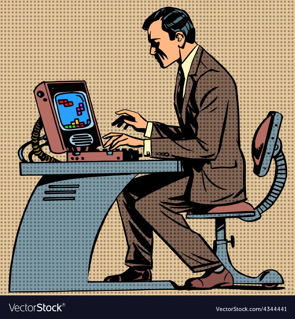 Old man plays a computer game pop art comics ret vector | Price: 3 Credit (USD $3)