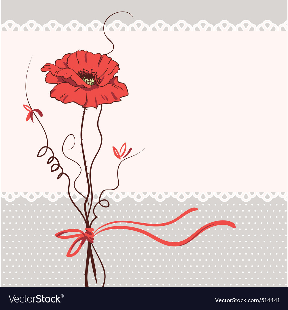 Red poppy floral card background vector | Price: 1 Credit (USD $1)