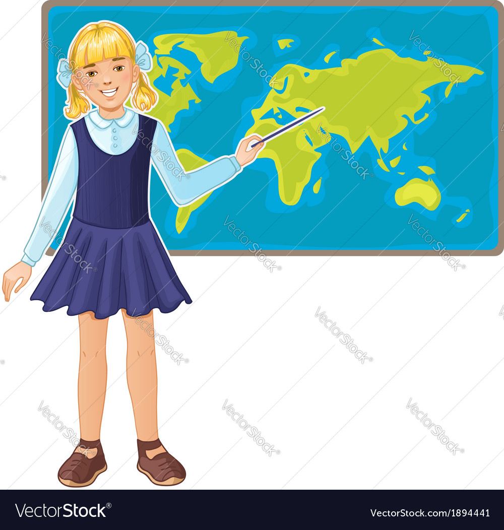 Schoolgirl at map of the world eps10 vector | Price: 1 Credit (USD $1)