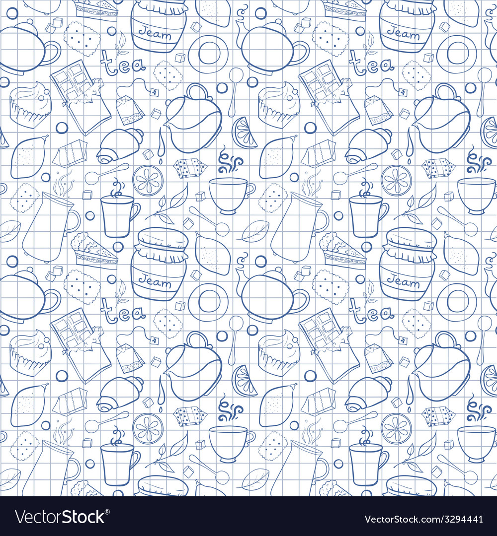 Tea and sweets seamless pattern on exercise book vector | Price: 1 Credit (USD $1)