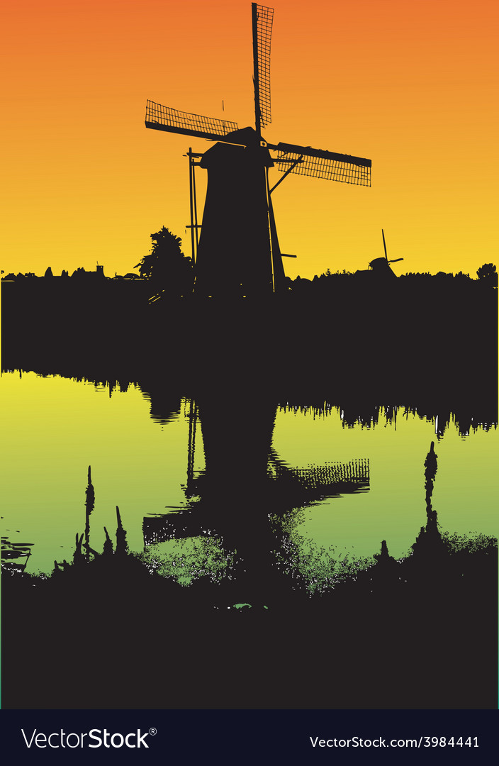 Windmill at sunset vector | Price: 1 Credit (USD $1)