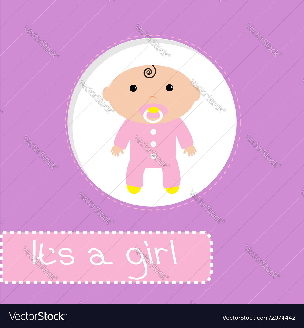 Baby shower card its a girl vector | Price: 1 Credit (USD $1)